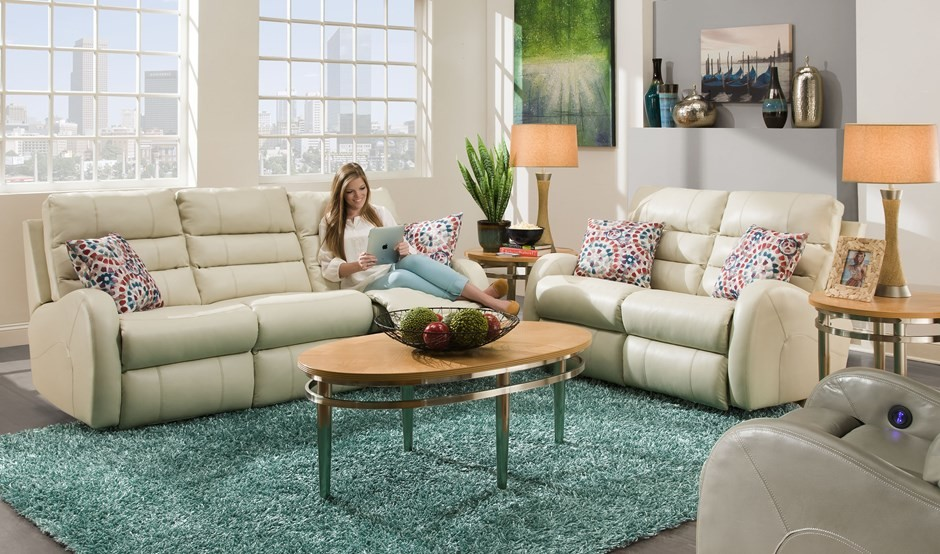 Leather Reclining Sectional Living Room Rustic with None 1