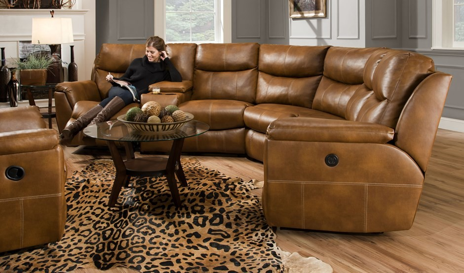 Leather Reclining Sectional Living Room Rustic with None 2