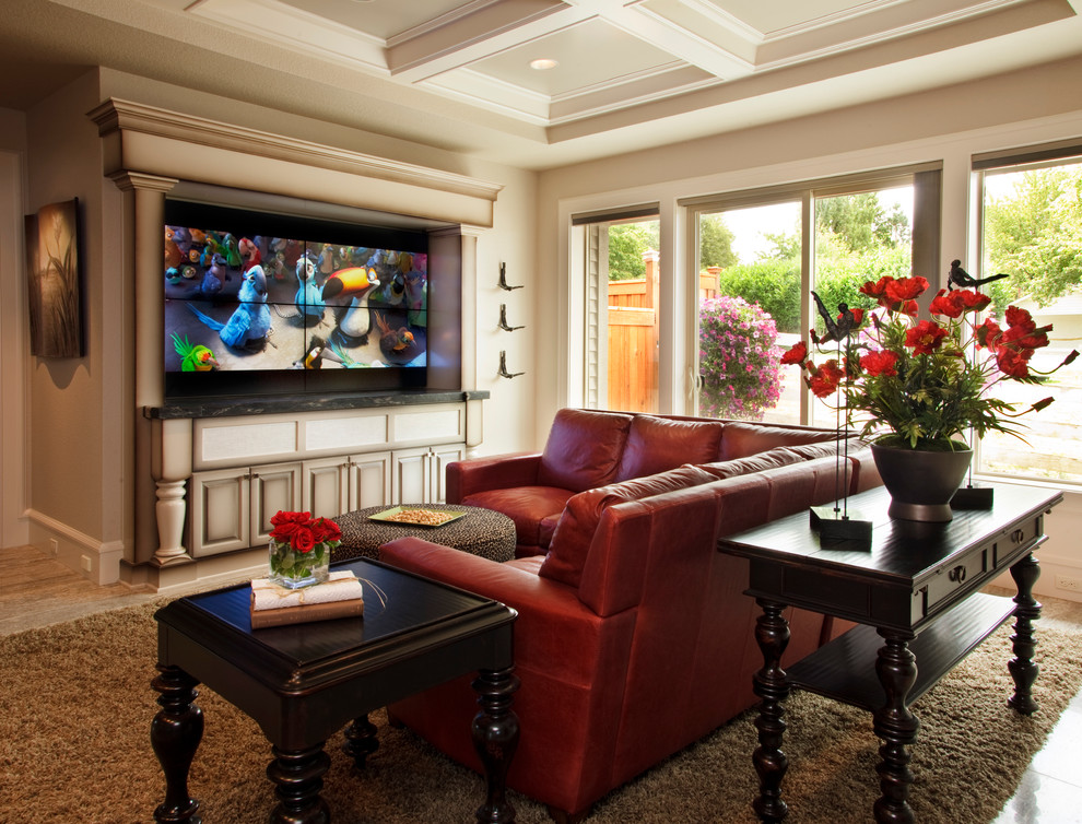 leather sectional sofa Family Room Traditional with brown rug coffered ceiling den large windows media cabinet Red Flowers red