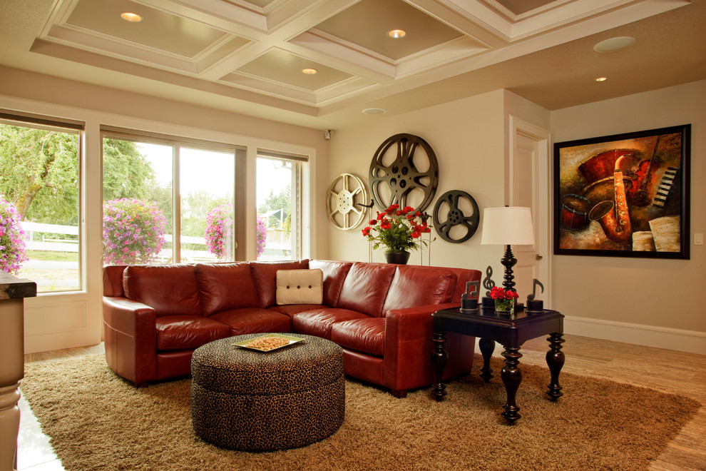 Leather Sectional Sofa Home Theater Traditional with Brown Rug Coffered Ceiling Den Large Film Reels Large Windows Media Cabinet