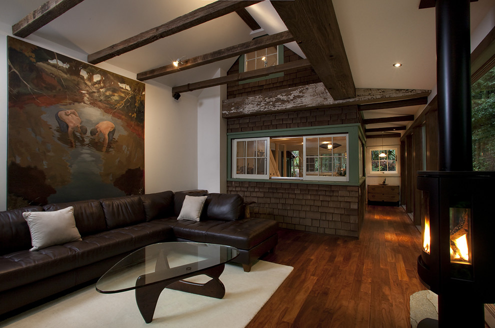 Leather Sectional Sofa Living Room Rustic with Glass Table Green Window Trim Indoor Windows Large Wall Art Leather Couch
