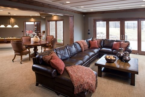 Leather Sectional Sofa Living Room Traditional with Caster Chairs Ceiling Game Room Game Table Leather Sectional Media Room Pool