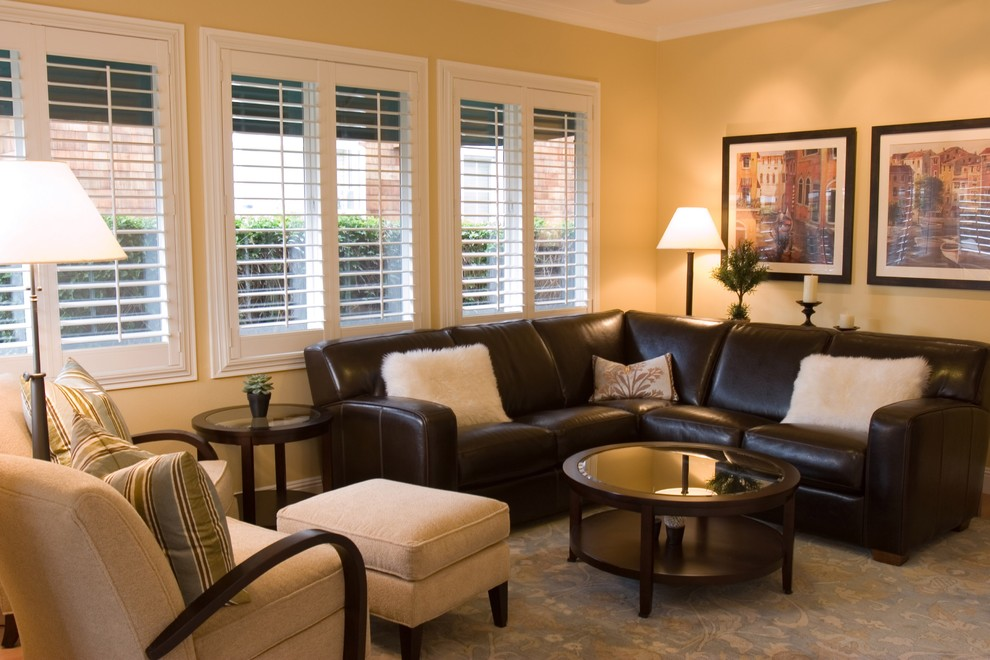 Leather Sectionals Family Room Traditional with None