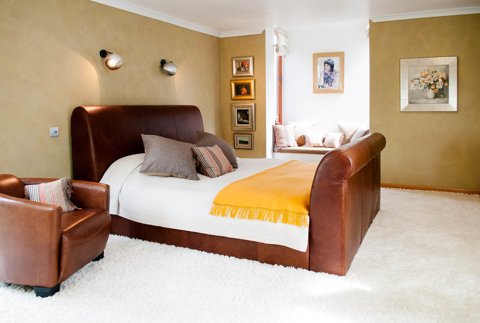 Leather Sleigh Bed Bedroom Contemporary with Art Bedroom Brown Carpet Contemporary Gold Leather Shag Carpet Sleigh Bed Suede