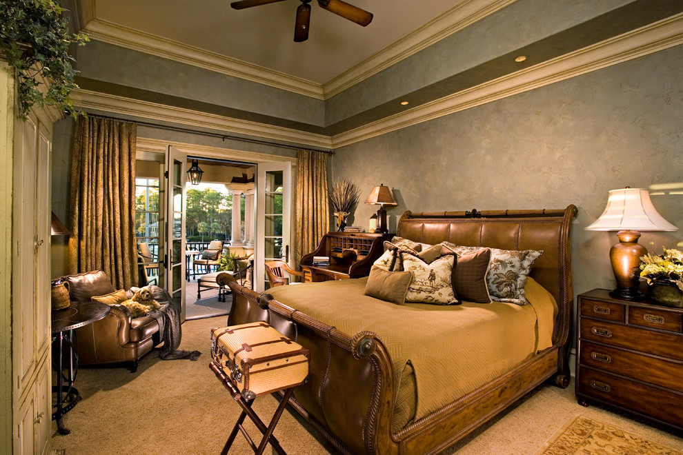leather sleigh bed Bedroom Mediterranean with area rug campaign chest carpeting drapery faux finished walls iron drapery rods