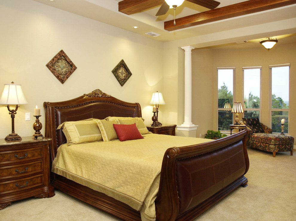 Leather Sleigh Bed Bedroom Traditional with Bedside Table Ceiling Lighting Chaise Lounge Chest of Drawers Columns Dresser Exposed