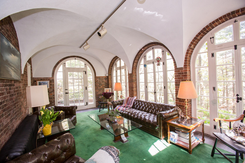 Leather Tufted Sofa Family Room Traditional with Accent Lighting Arch Windows Arched Brick Arched Windows Brick Brick Arch Carriage