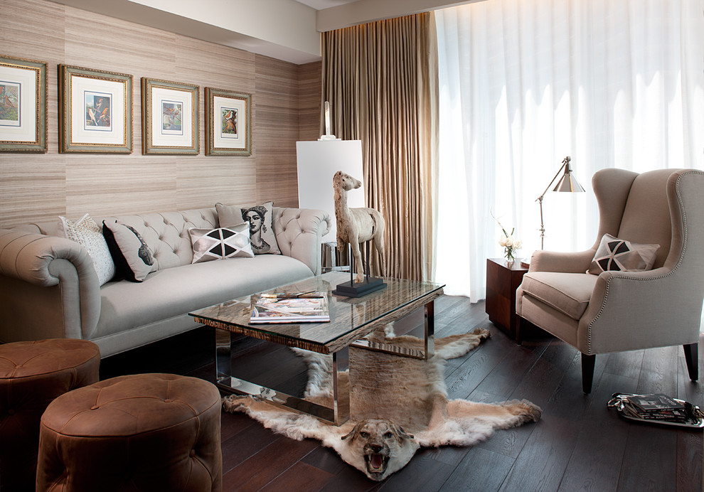 Leather Tufted Sofa Living Room Transitional with Art Beige Brown Leather Ottomans Chrome Lamp Coffee Table Curtain Panel Dark