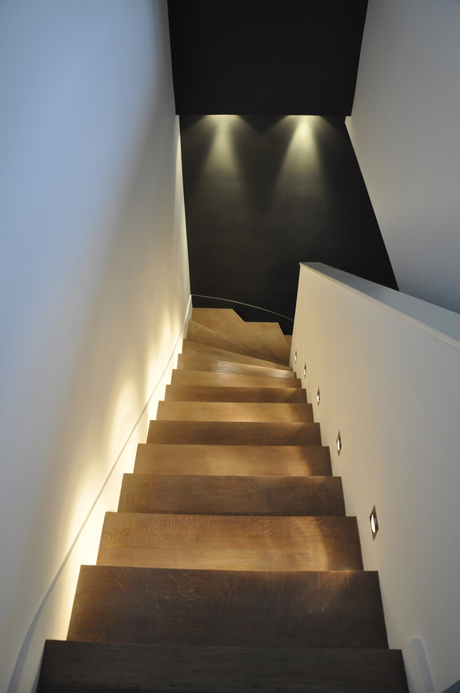 Led Flood Light Fixtures Staircase Modern with Black Floor Stair Lighting White Walls Wood Stairs Wood Tread
