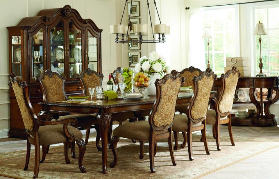 Legacy Classic Furniture Dining Room with Dining Chandelier Hanging Lights Long Dining Table Wood China Cabinet Wood Dining