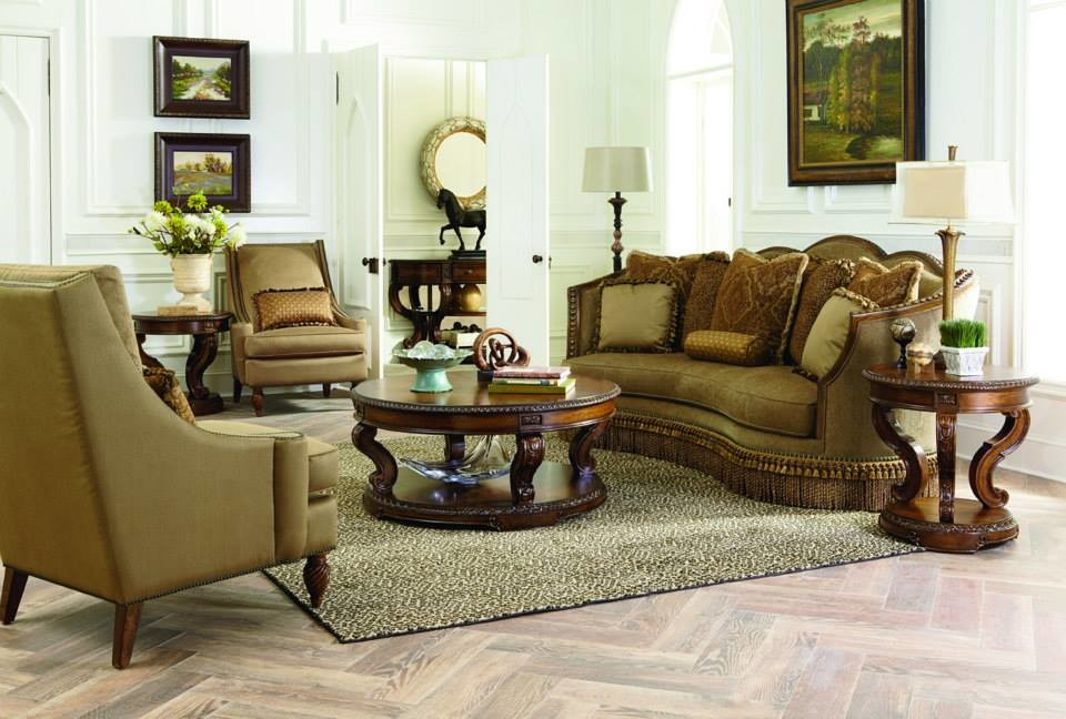Legacy Classic Furniture Living Room with Area Rug Fancy Living Room Hardwood Floor Round Coffee Table Sitting Room