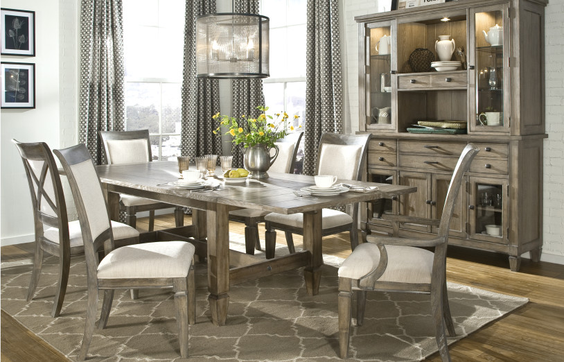 legacy classic furniture Spaces Transitional with arm chair brick brown brown gray brown grey brown rug brownstone brownstone
