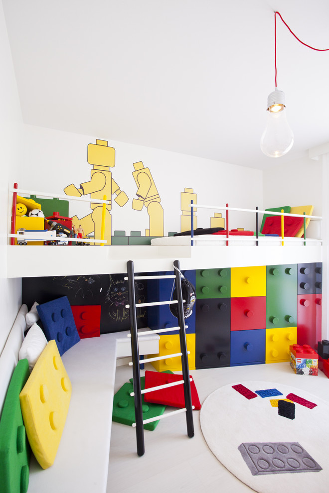 Lego Storage Containers Kids Contemporary with Bare Bulb Pendant Bedroom Built in Furniture Built in Storage Bunk Beds