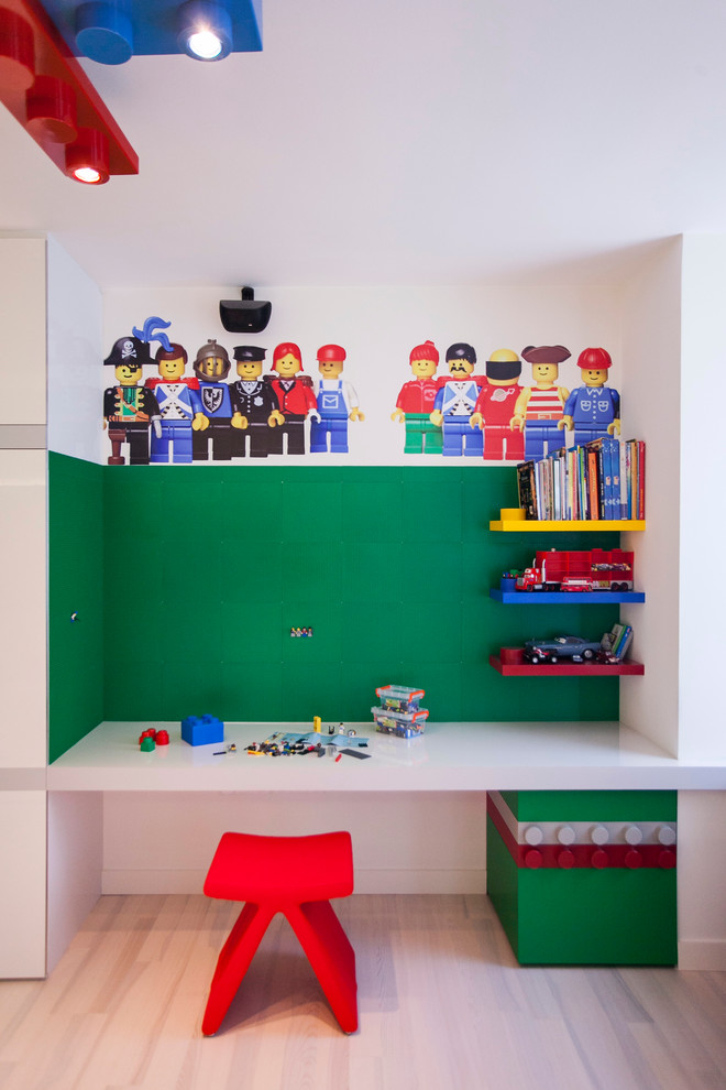 Lego Storage Containers Kids Contemporary with Built in Desk Floating Shelves Green Lego Wall Red Stool Wall Decals Wood