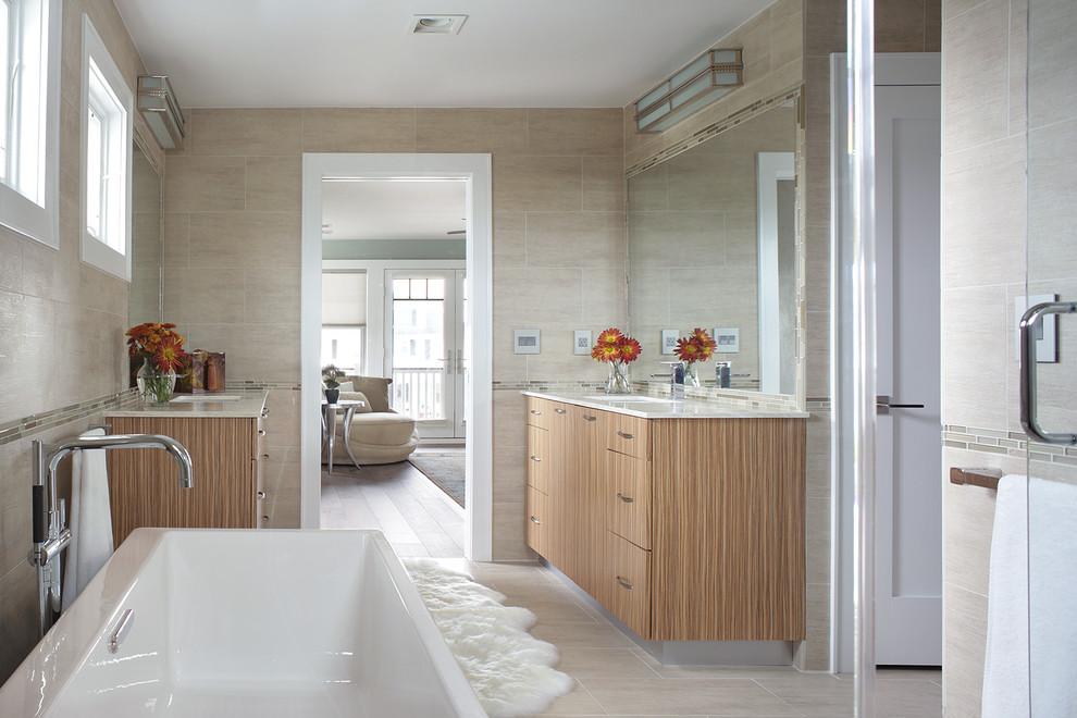 Legrand Switches Bathroom Transitional with Asbury Park Avon by the Sea Bathtub Faucet Bathtubs Beach Home Beige Walls Brushed Aluminum