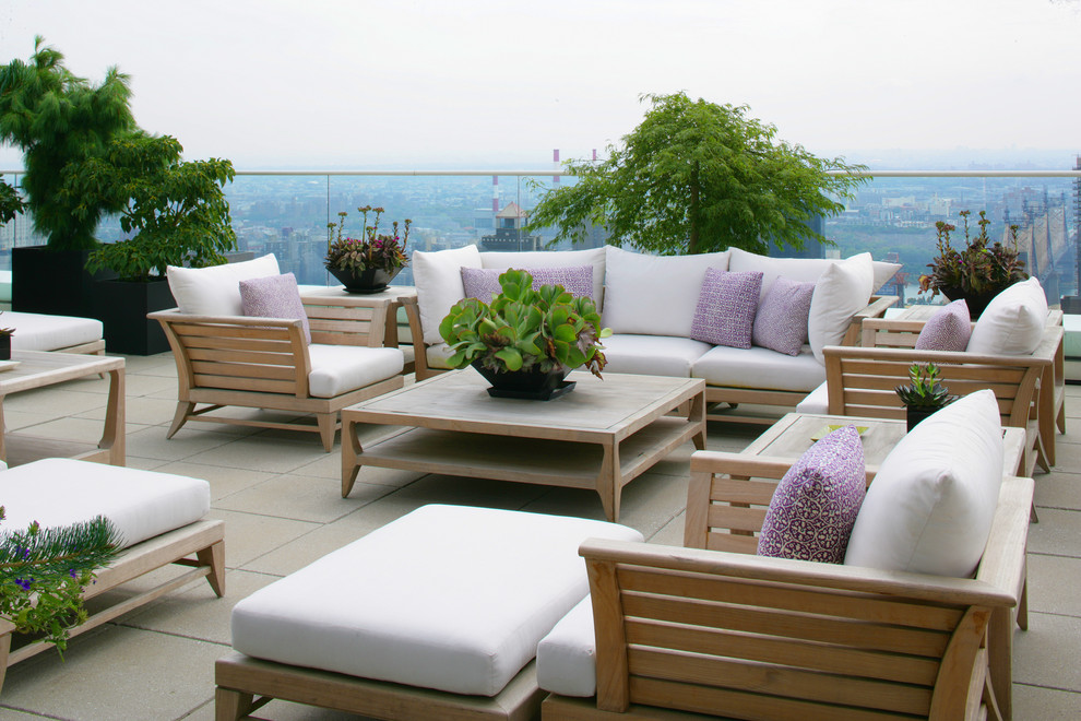 Leick Furniture Deck Contemporary with Container Plants Decorative Pillows Glass Railing Outdoor Cushions Patio Furniture Potted Plants