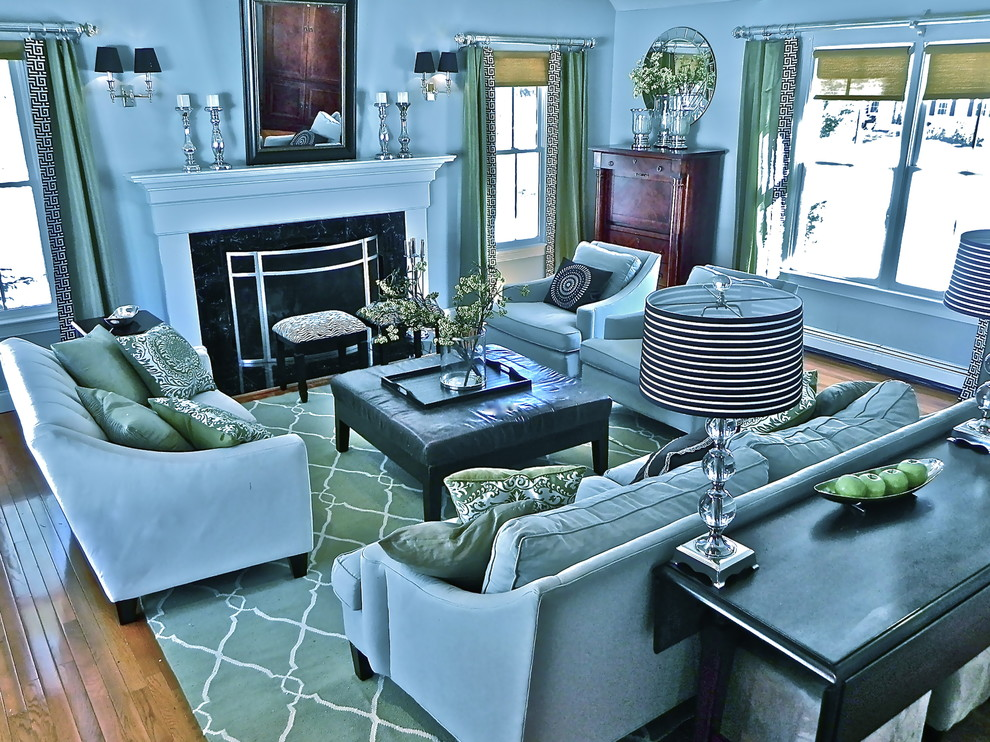 Leick Furniture Family Room Traditional with Area Rug Baseboards Blue Walls Curtains Decorative Pillows Double Hung Windows Drapes