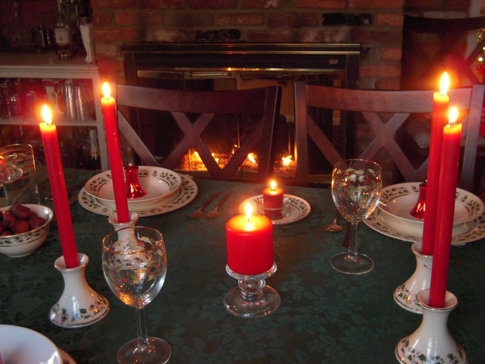 lenox china Spaces Traditional with dining table by fireplace Lenox china Holiday red candles vintage christmas tablescape