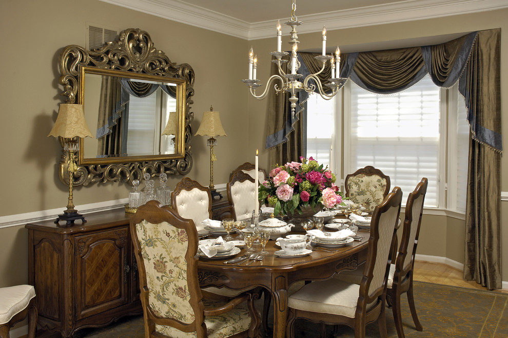 Lenox Dinnerware Dining Room Traditional with Buffet Console Drapery Drapes Large Mirror Place Setting Rococo Silver Chandelier Silver