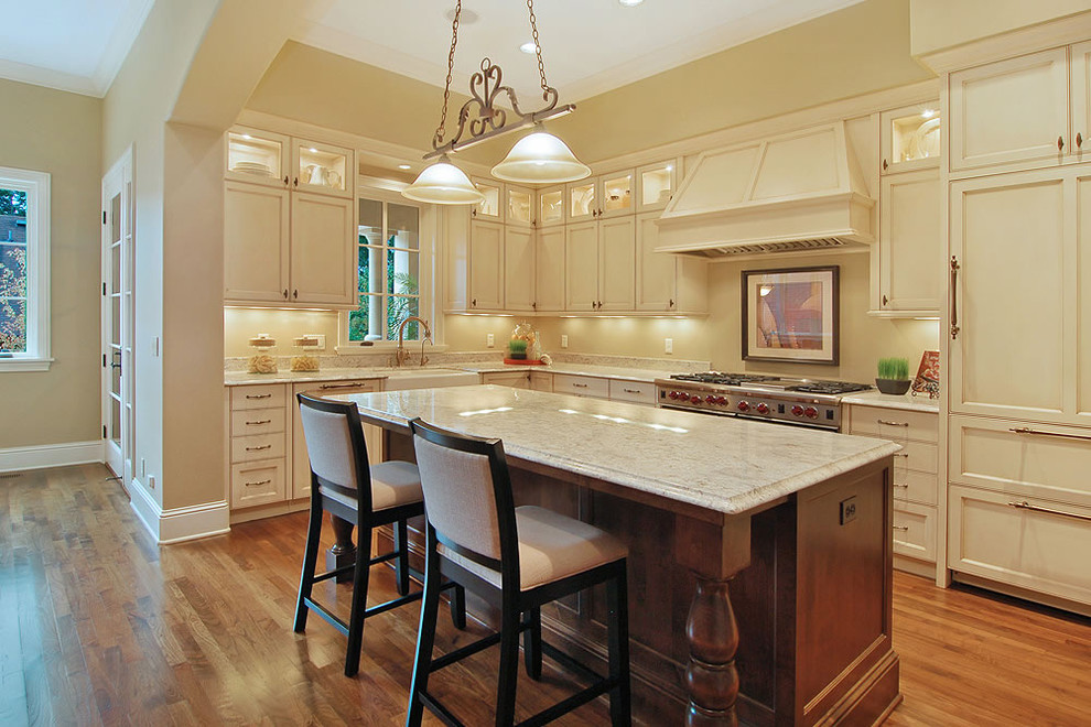 lenox dinnerware Kitchen Contemporary with cabinet front refrigerator crown molding eat in kitchen glass front cabinets island