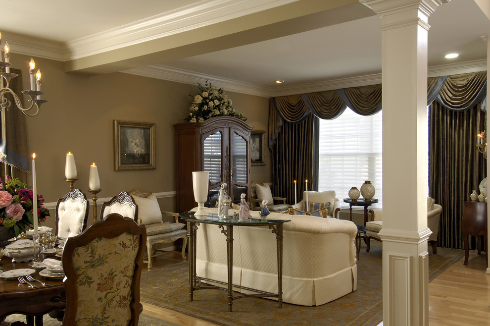 Lenox Dinnerware Living Room Traditional with Armoire Columns Drapes Open Floor Plan
