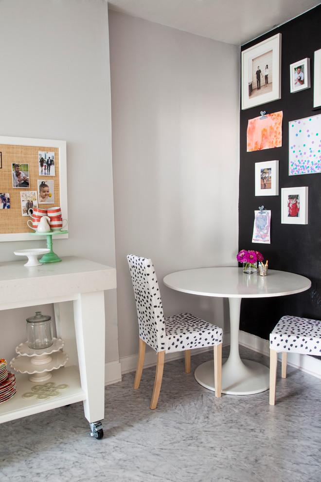 Leopard Chair Dining Room Eclectic with Baseboards Cake Stand Chalkboard Chalkboard Wall Dalmation Gallery Wall Kitchen Cart Pedestal