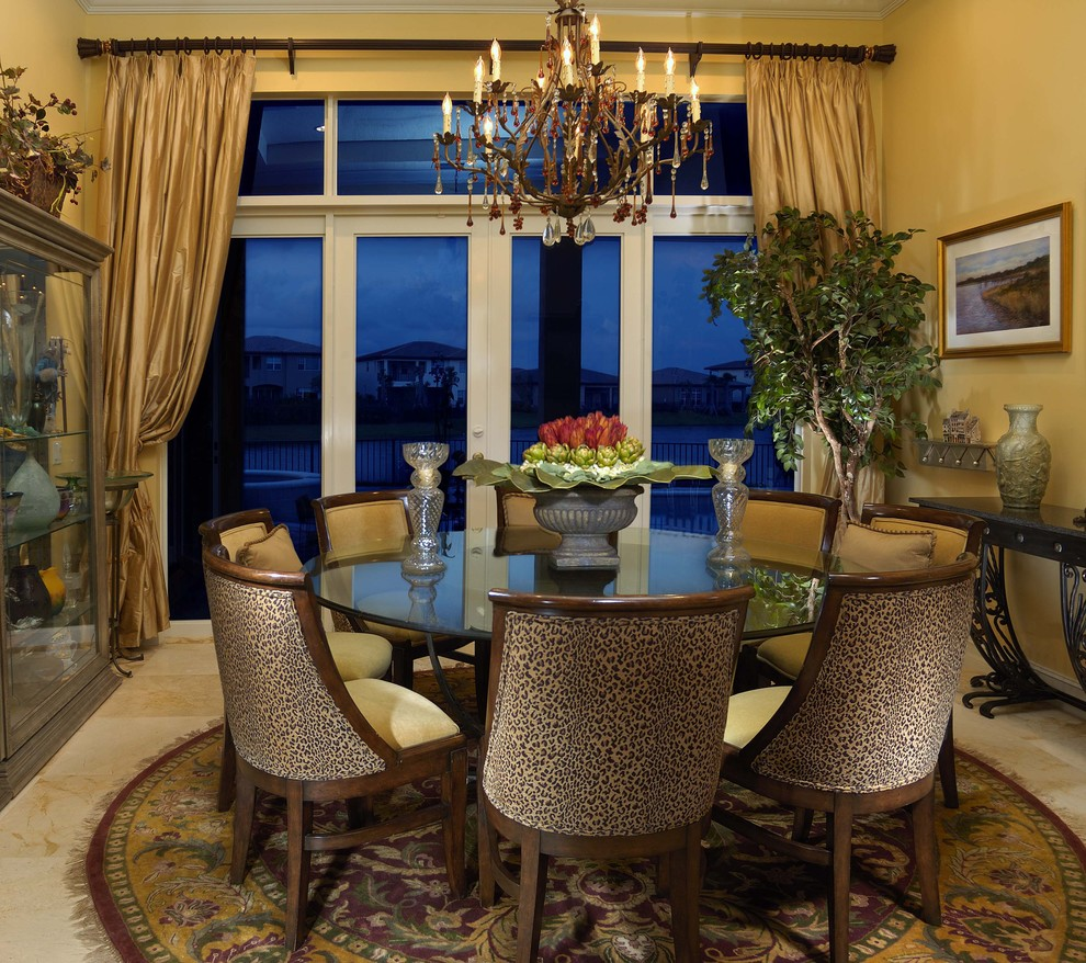 Leopard Chair Dining Room Traditional with Chandelier Curtains Decorative Garden Urn Drapes House Plants Centerpiece Leopard Print Upholstery