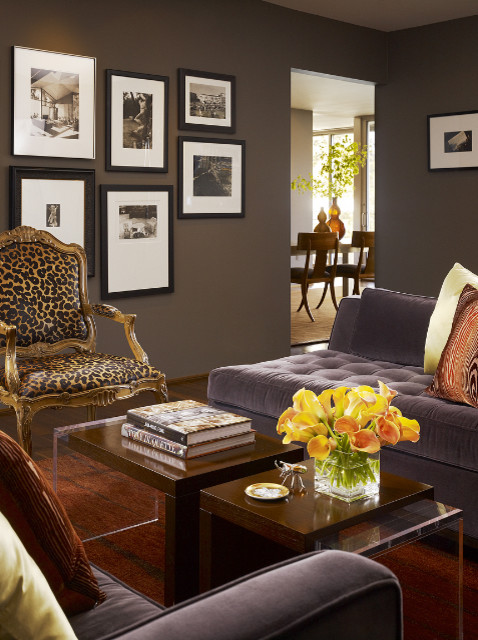 Leopard Chair Living Room Contemporary with Animal Print Chair Dining Table Fine Art Photography Grey Wall Purple Sofa