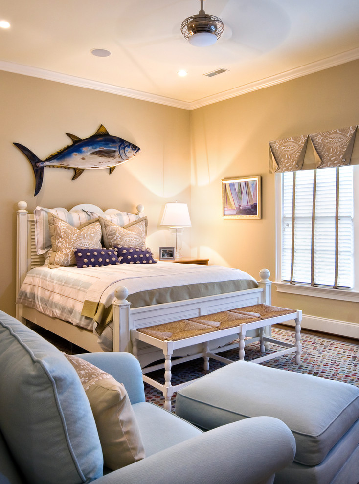 Lexington Furniture Company Bedroom Beach with Amenities Area Rug Artwork Beachy Bedroom Big Fish Story Blue and White