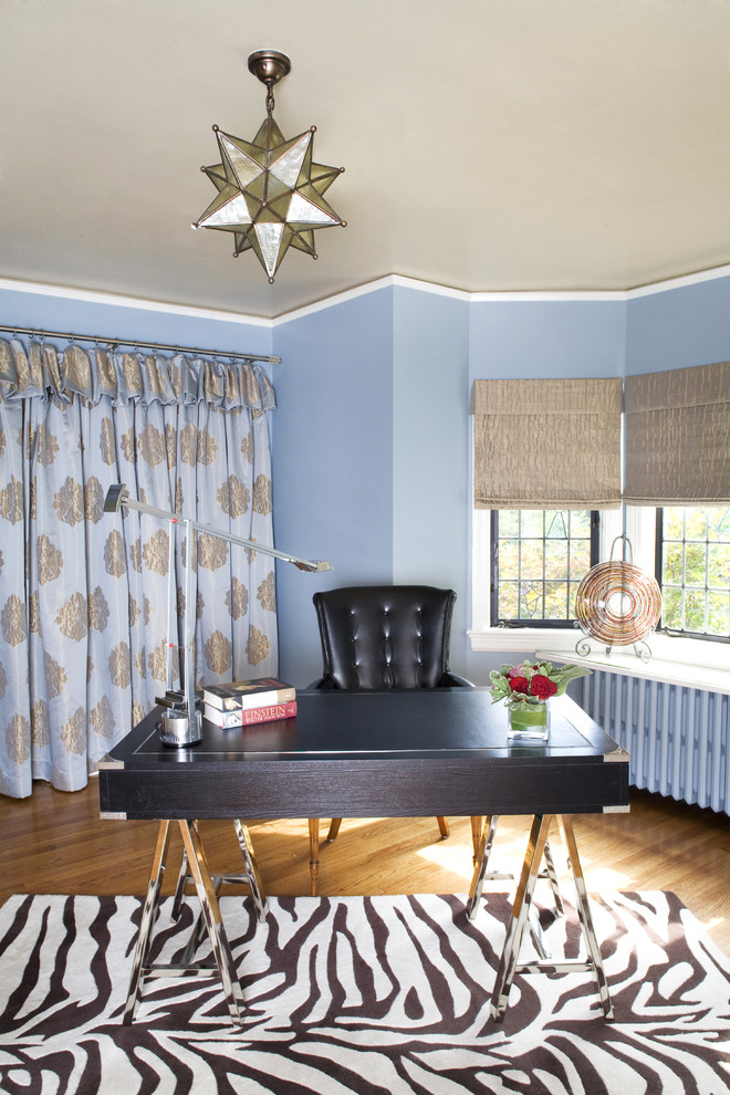 Lexington Furniture Company Home Office Traditional with Animal Print Rug Area Rug Bay Window Blue Wall Chrome Curtains Dark
