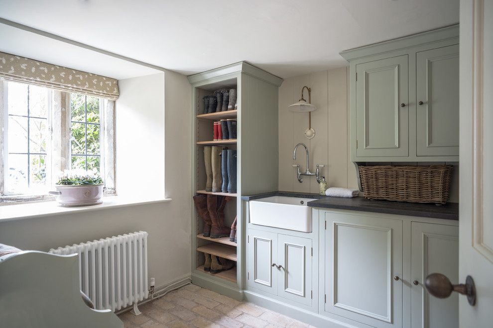 lifestride boots Laundry Room Farmhouse with belfast sink bootroom brick floor butler sink country style utility room dove