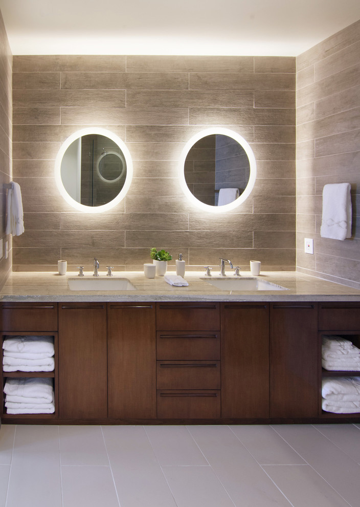 Lighted mirrors bathroom modern with bamboo double sink frosted lighted mirrors bathroom contemporary with bathroom accessories dark wood bathroom cabinets double vanity light gray floor aloadofball Images