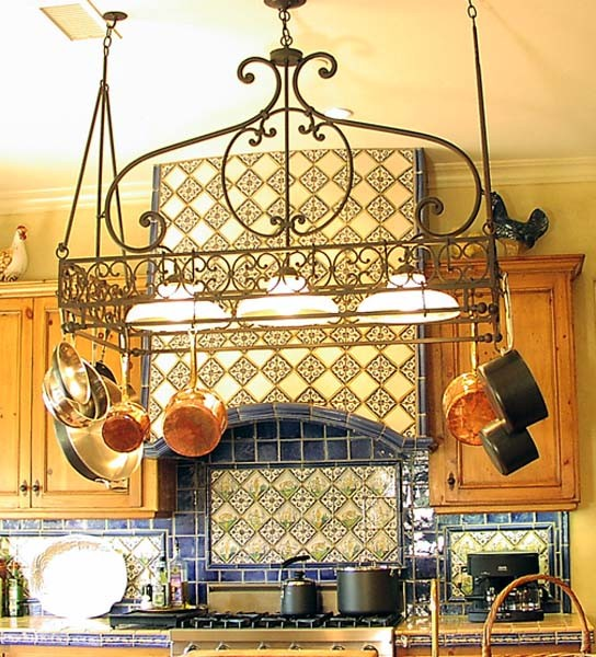 Lighted Pot Rack Kitchen Mediterranean with Pot Rack with Down Lights by Steven Hand