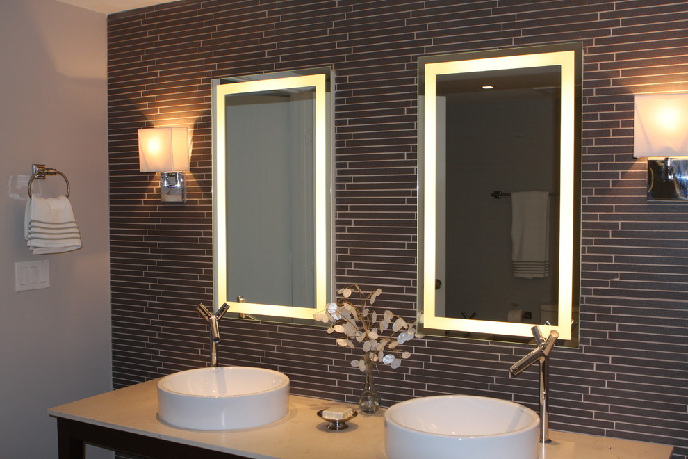 Lighted Vanity Mirror Bathroom Contemporary With Backlit Mirror  Chrome Sconce Electric Mirror Gray Lighted Mirror Linear Tile Backsplash