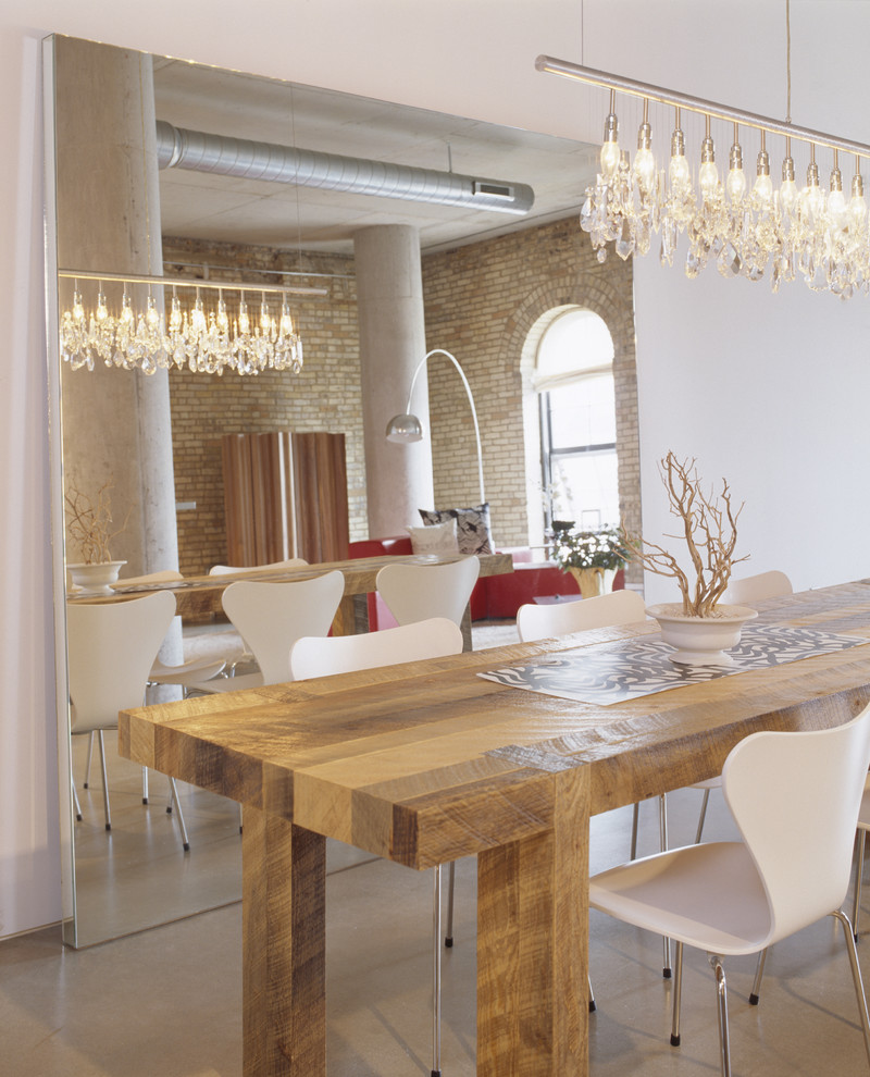 Linear Chandelier Dining Room Contemporary with Arc Lamp Arched Windows Brick Bright Butcher Block Dining Table Clean Clean