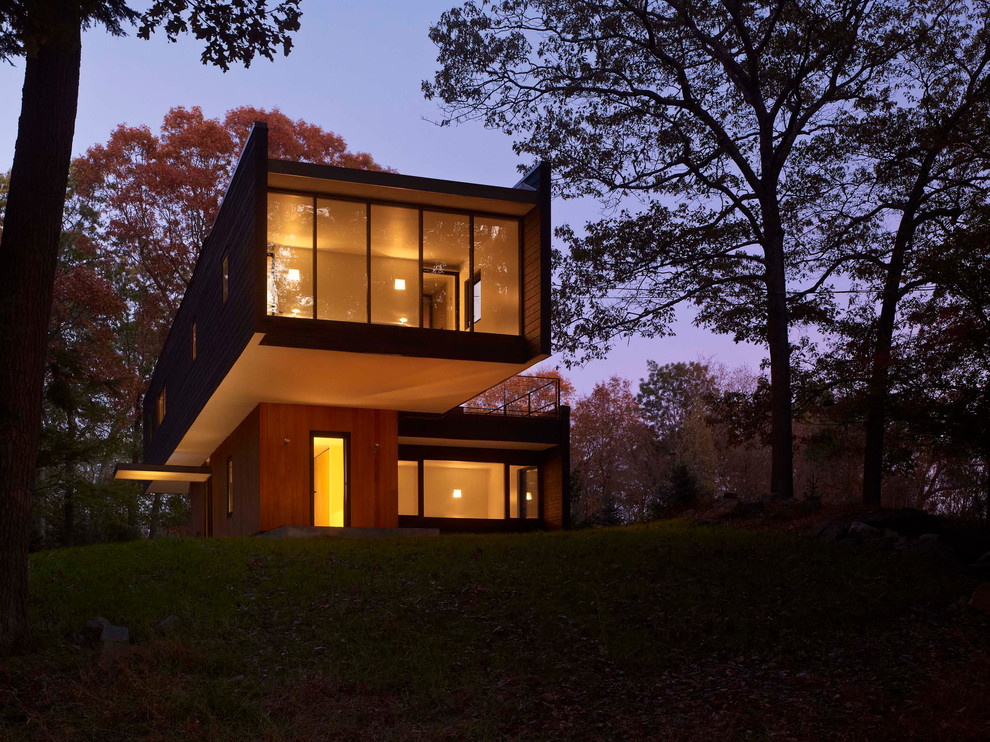 Lined Curtains Exterior Modern with Black Siding Cantilever Clean Lines Curtain Walls Doors Dusk Flat Roof Forest