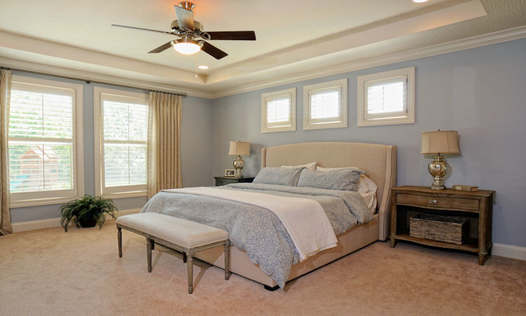 Linen Curtain Panels Bedroom Rustic with Blue Walls Cut and Loop Carpet Linen Curtain Panels Master Ceiling Fan