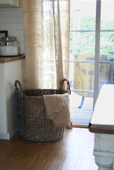 Linen Curtain Panels Dining Room Traditional with Burlap Grain Sack Wicker