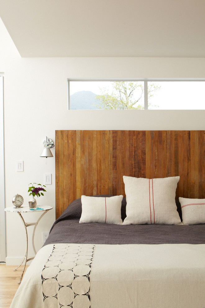 Linen Headboard Bedroom Contemporary with Accent Table Burlap Coverlet Grain Sack Gray Reading Light Red Stripe Ribbon