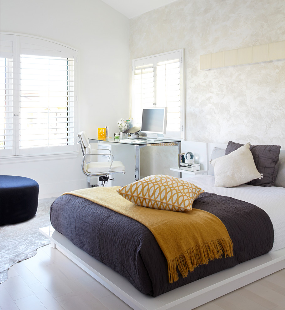 Linen Headboard Bedroom Contemporary with Bed Bedding Chair Cushions Desk Desk Lamp Engineered Floor Leather Rug Louvers