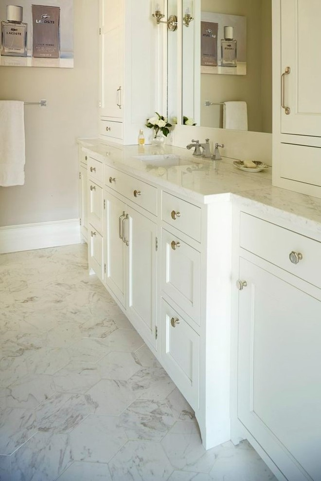 Linen Tower Bathroom Transitional with Antique Decorative Imported Marble Stone Stone Sinks Wall Tile White Marble