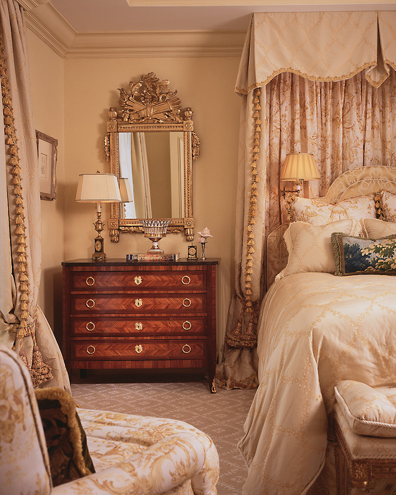 Lingerie Chest of Drawers Bedroom Traditional with Bed Curtain Bed Valance Beige Bedding Beige Molding Beige Wall Curtains Dark