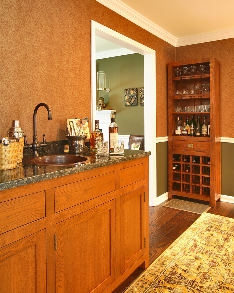 Liquor Cabinets Home Bar Traditional with Bar Built Ins Chair Rail Copper Sink Den Green Wall Home Bar