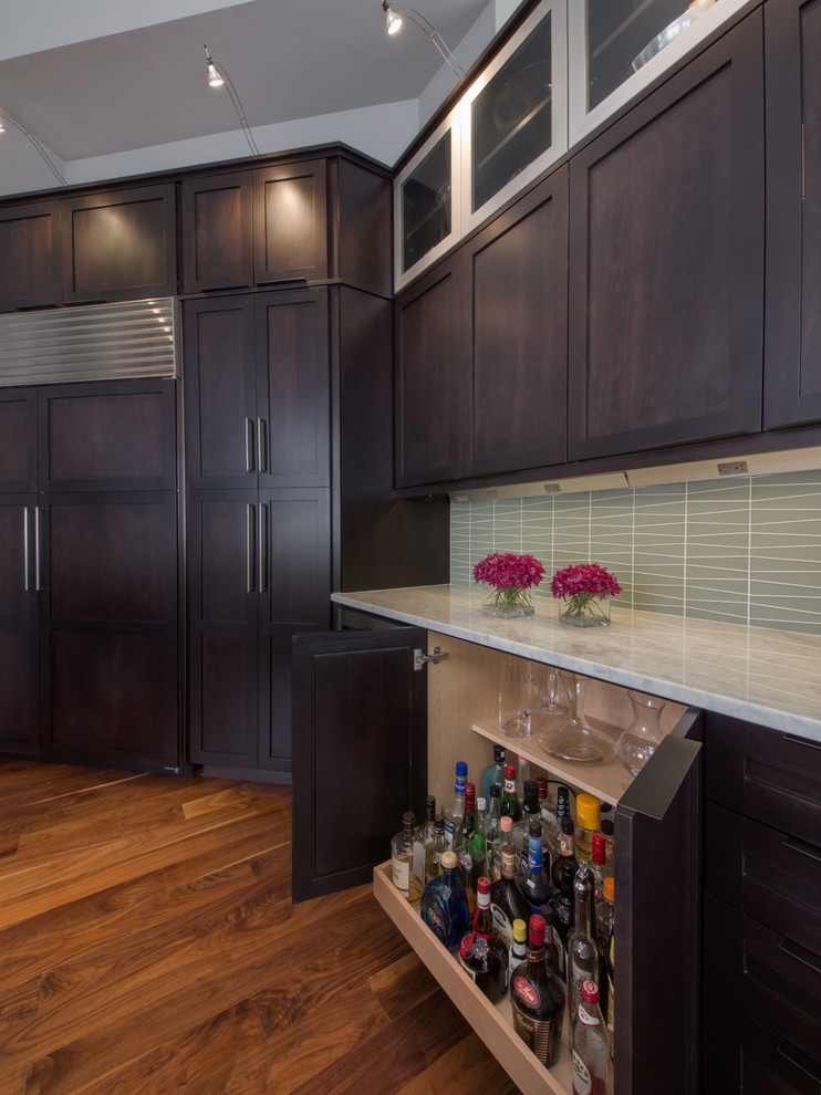 Liquor Cabinets Kitchen Contemporary with Bar Barware Dark Wood Glass Tile Glass Tile Backsplash Integrated Fridge Marble