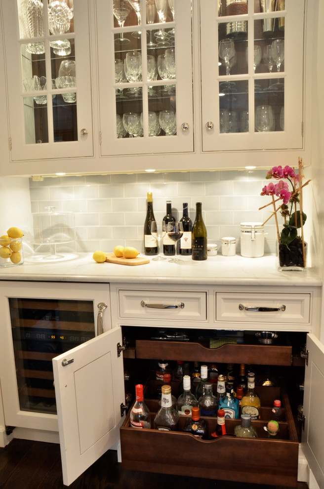 Liquor Cabinets Kitchen Traditional with Bar Cabinetry Blue Kitchen Cabinetry Carerra Carerra Countertop Carerra Marble Cherry Cabinets