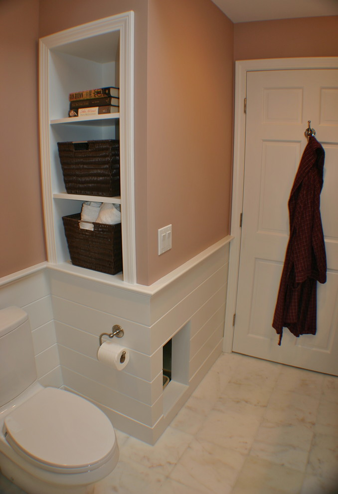 litter box enclosure Bathroom Transitional with litter box marble floor storage niche Toto water-saving toilet wainscote paneling