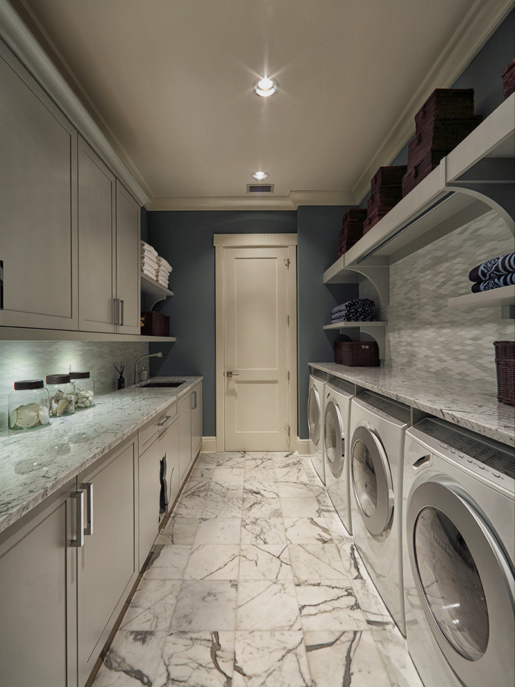 Litter Box Enclosure Laundry Room Transitional with Blue Wall Cat Door Crown Molding Gray Cabinets Laundry Room Laundry Room