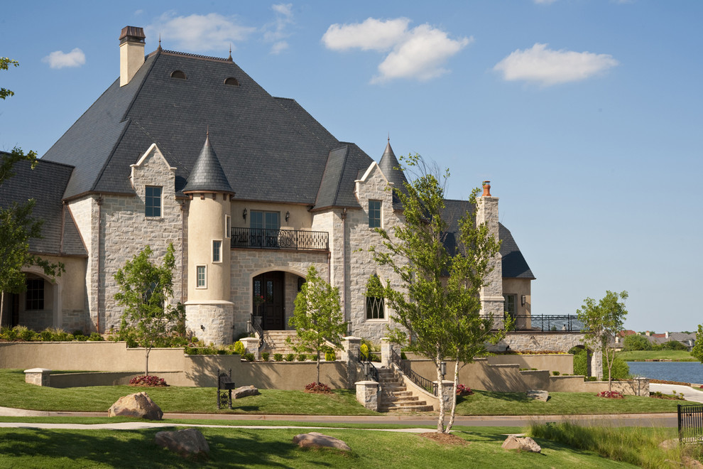 Little Castle Glider Exterior Traditional with Balcony Castle Entrance Entry Formal Grass Lawn Manor Neutral Colors Staircase Stairs
