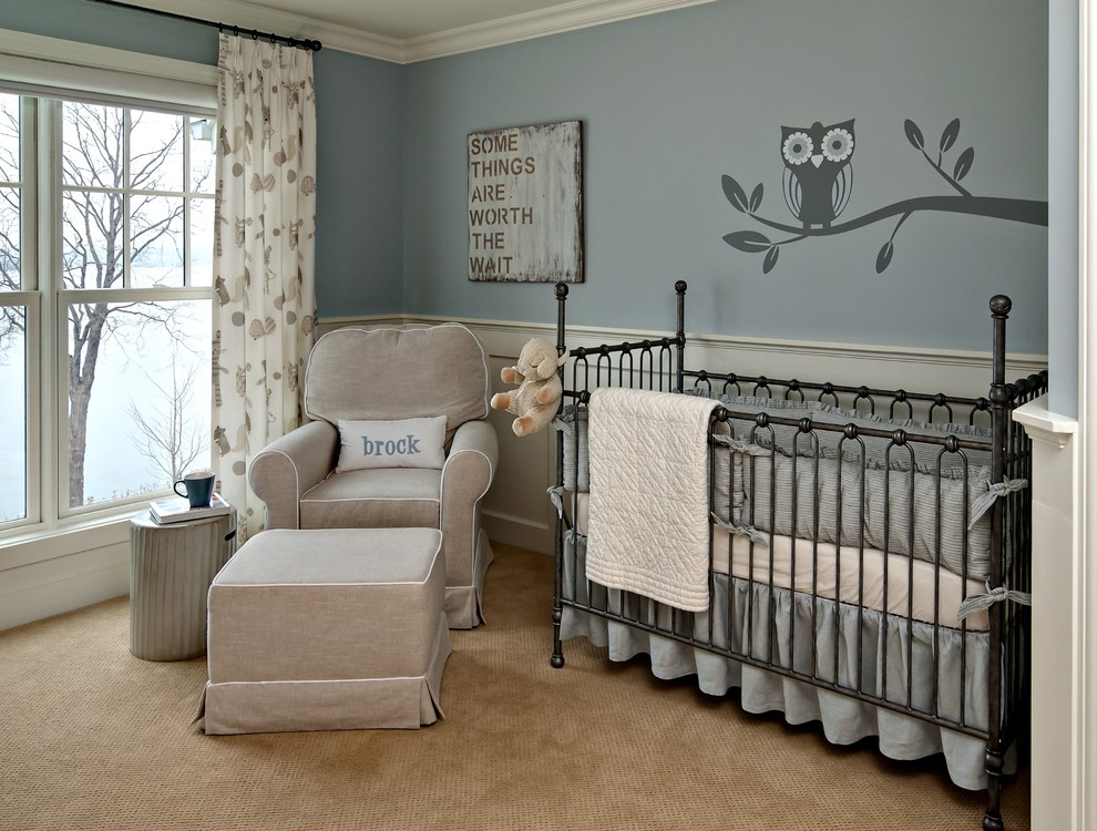 Little Castle Glider Nursery Traditional with Blue Curtains Double Hung Windows Drapes Enamelled Wainscotting Ideas for Baby Boy