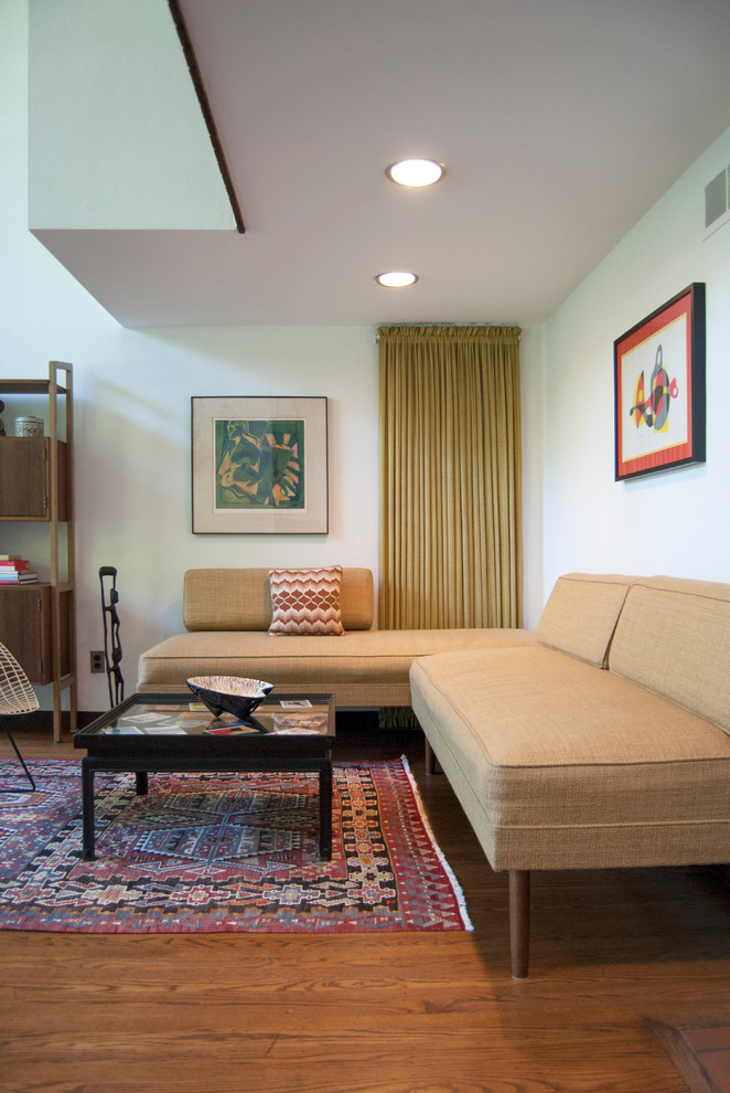 Living Room Sectionals Family Room Midcentury with Artwork Drapery Kilim Rug Mid Century My Houzz Neutral Palette Sectional Sofa